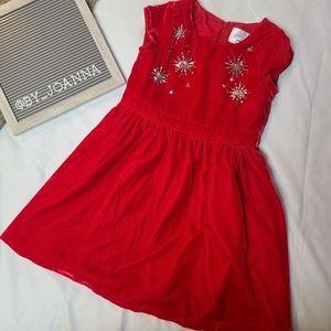 *GYMBOREE* Red Crushed Velvet Snowflake Dress